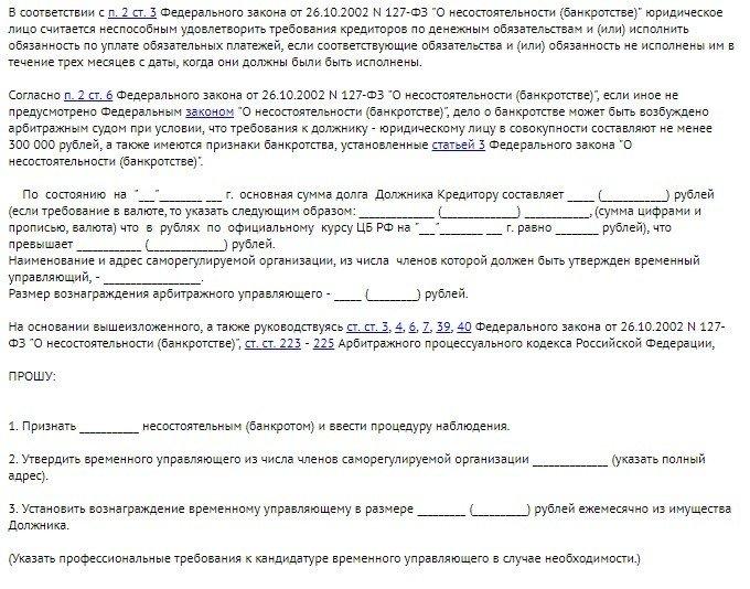 Образец заявления о признания должника банкротом - 2