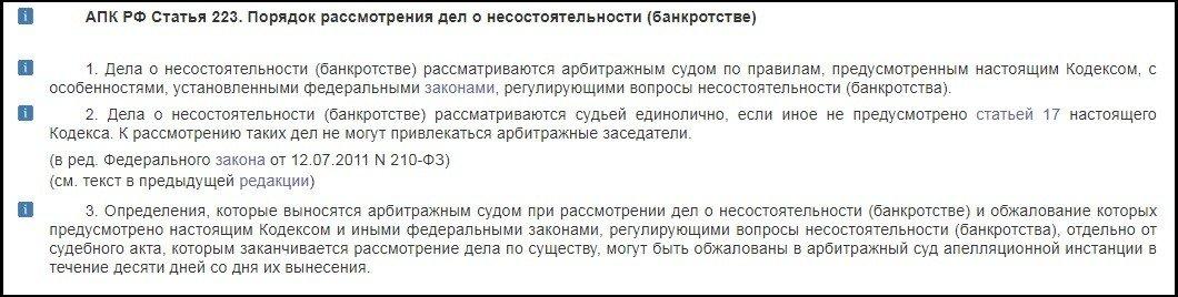 АПК РФ статья 223