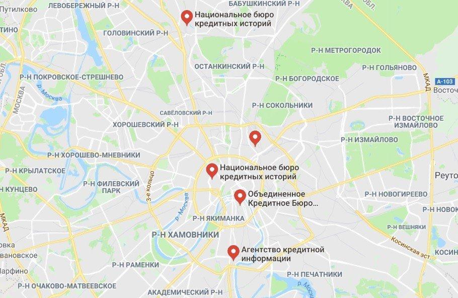 карта БКИ Москвы