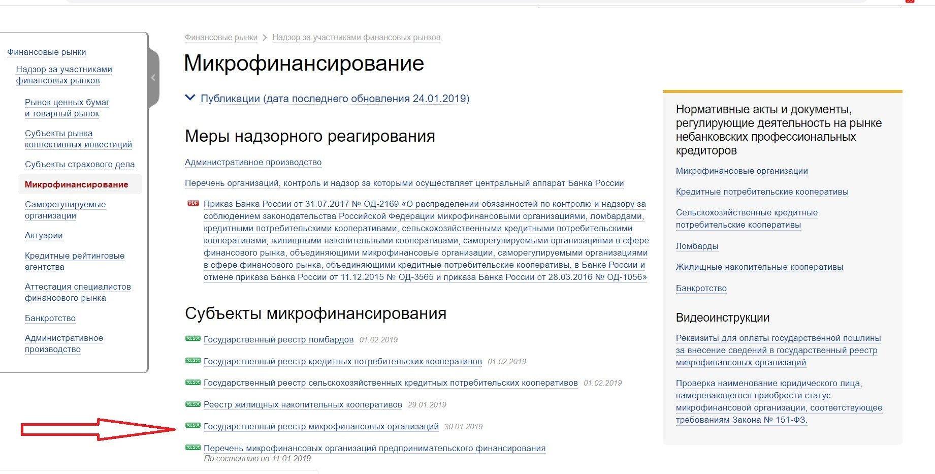 госреестр МФО