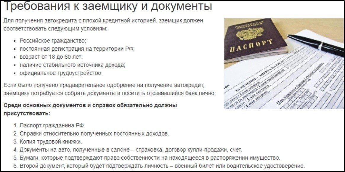 требования и документы